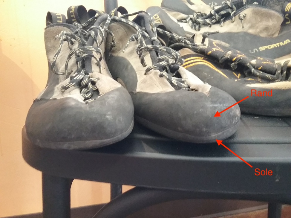 Climbing Shoes Showing The Line Seperating The Rand And The Sole