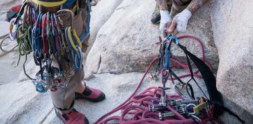 Two Male Climbers Trad Climbing