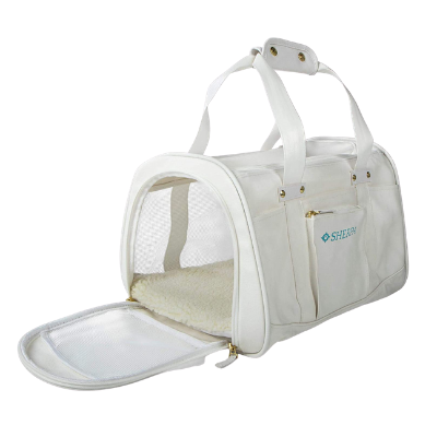 Sherpa Travel Wipe Clean Technology Airline Approved White and Gray Pet Carrier - Pawp