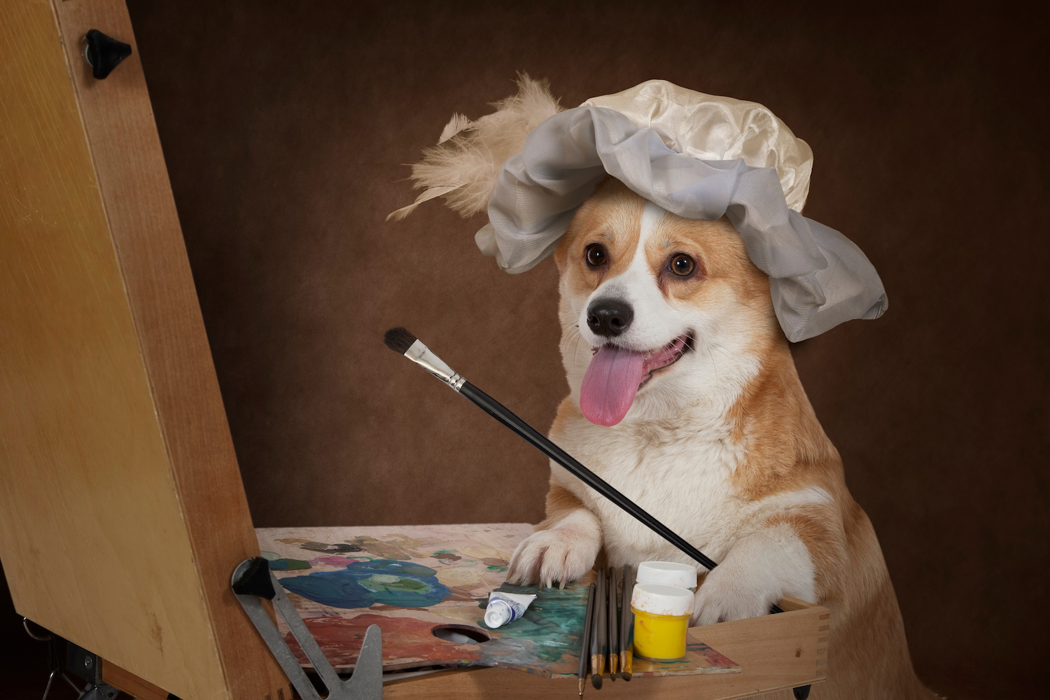 Canva - Welsh corgi Pembroke dog artist