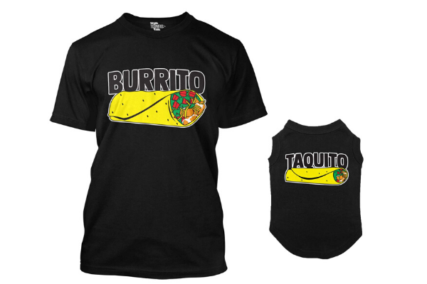 Burrito-taquito matching dog shirts