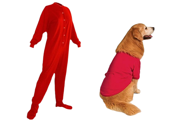 red human and dog dropseat pjs