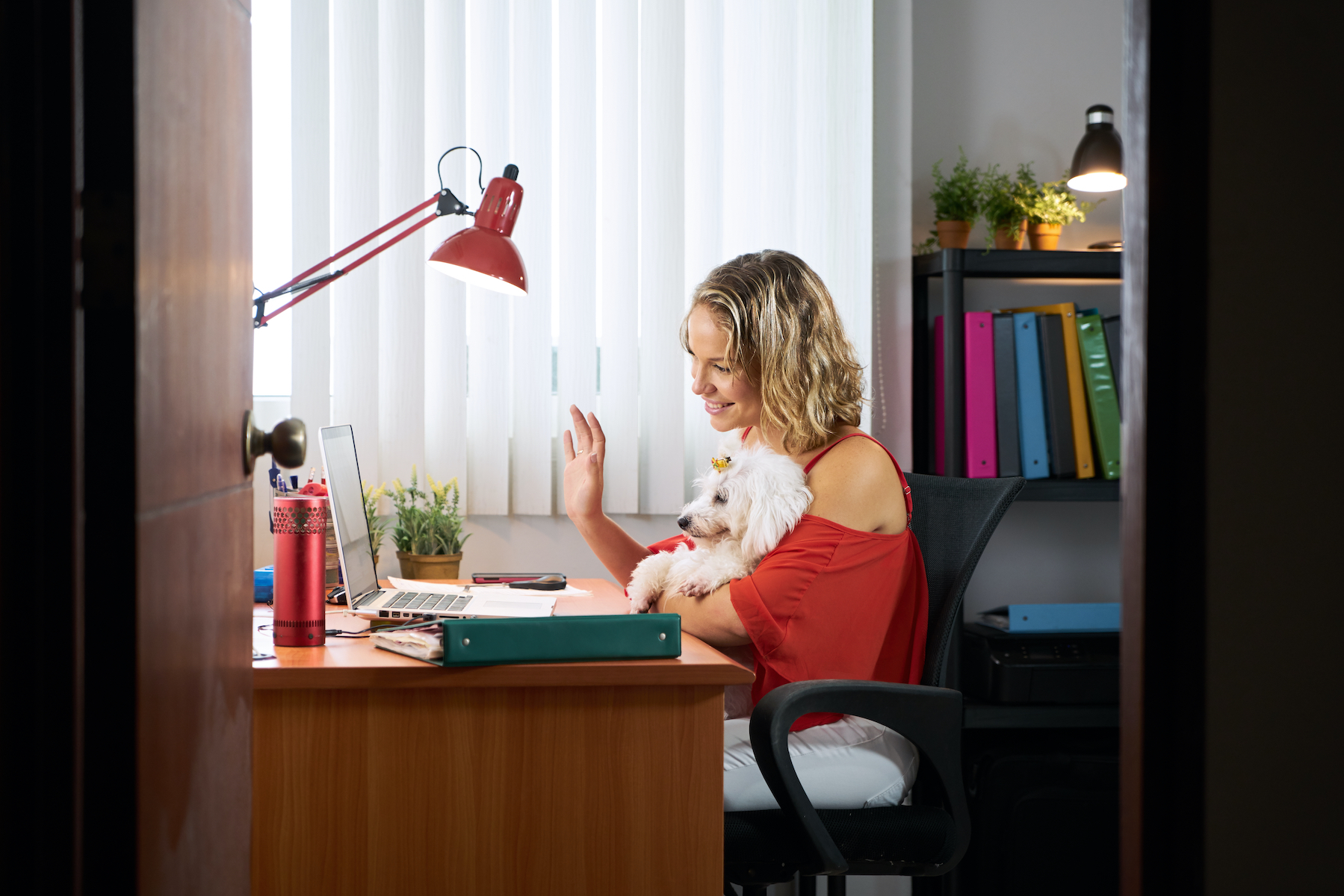 Canva - Office Woman Holding Dog