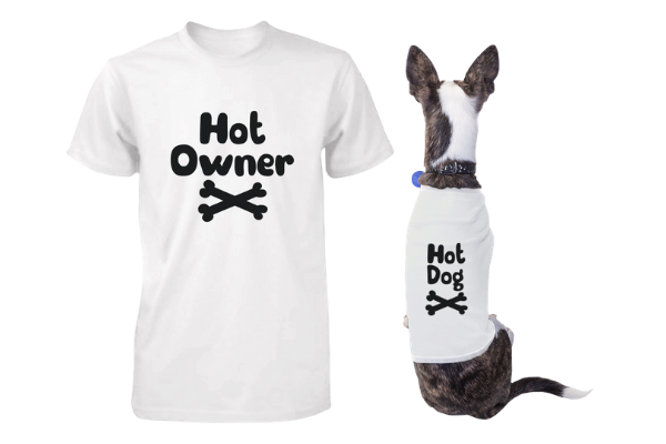 hot owner and hot dog matching tees