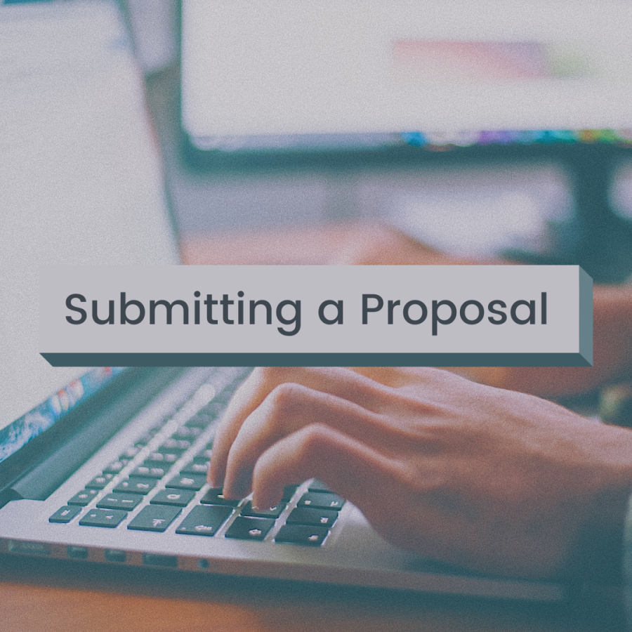 """Hands typing on a laptop keyboard. """"Submitting a Proposal"""" is overlaid."""""""