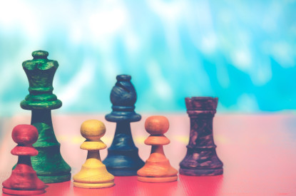 Colorful chess pieces