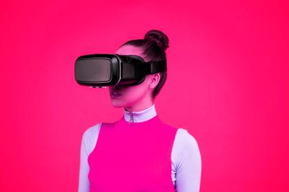 Pink futuristic goggles on girl