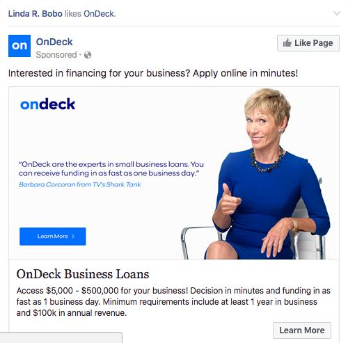 Sponsored social ad