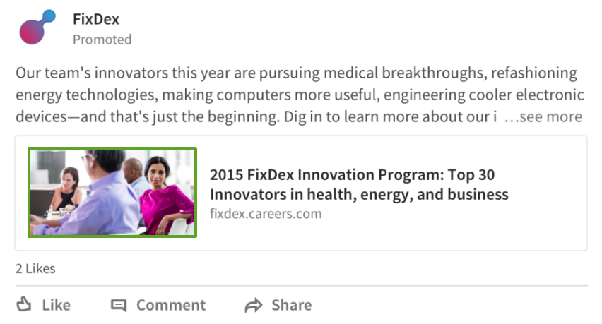 LinkedIn Sponsored content