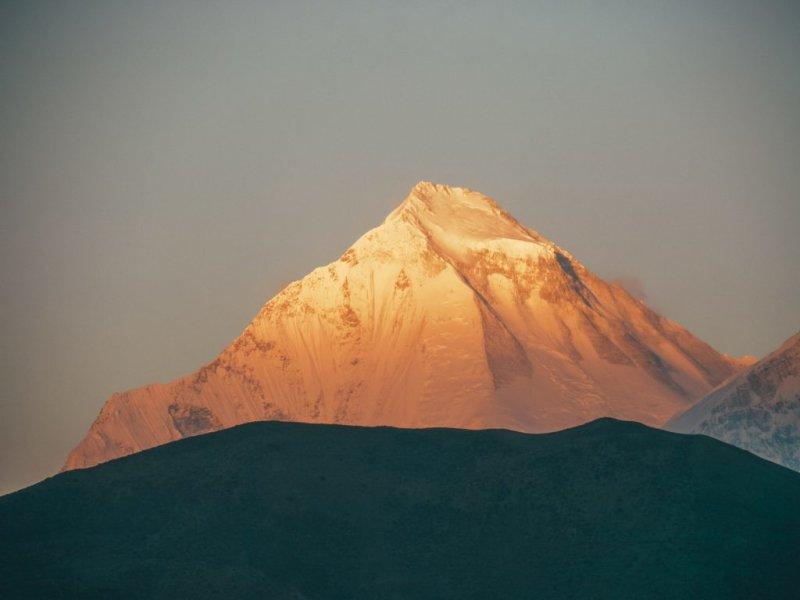 Mountain peak in sunlight