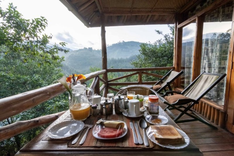 Terrace and breakfast at Rushaga Gorilla Camp in Bwindi Impenetrable National Park