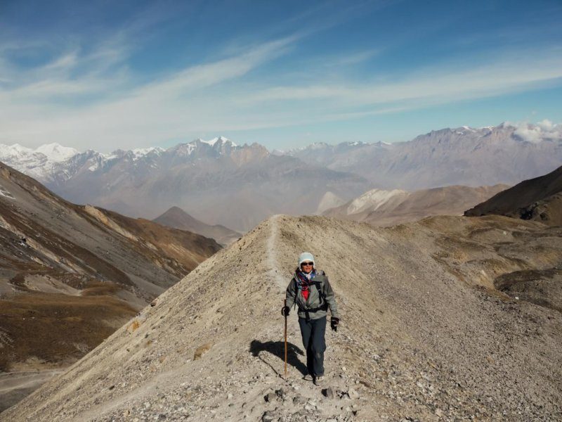 Trekkers on a ridge in the Annapurna mountains