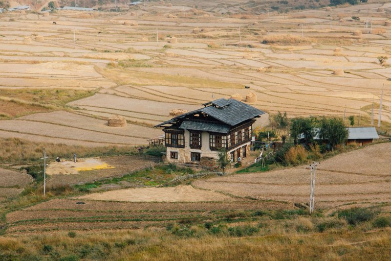 Traditional homestead in Punakha, Bhutan