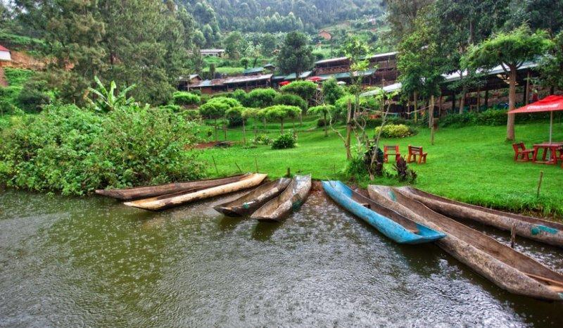 Dugout canoes on Lake Bunyonyi, Uganda