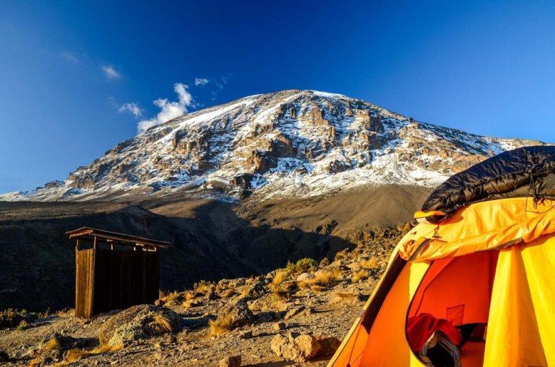 Kilimanjaro campsite and public toilet that different Kilimanjaro operators use