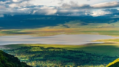 Ngorongoro Crater as seen from the rim in the wet season
