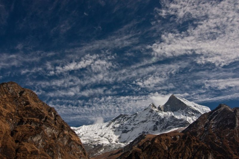 Blue skies and snow capped peaks on the Annapurna Circuit route.