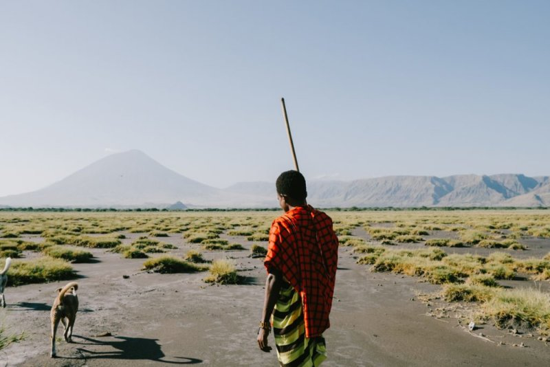 A Maasai man with his two dogs in the vicinity of Mt Ol Doinyo Lengai