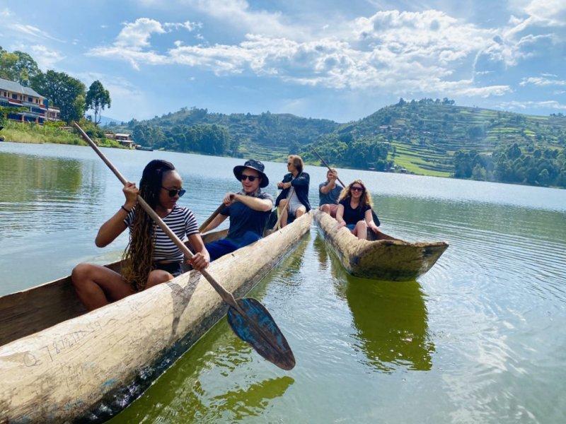 Canoeing on Lake Bunyonyi in Uganda