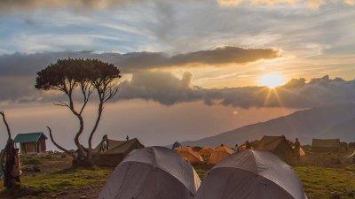Sunrise at Shira Camp on Kilimanjaro