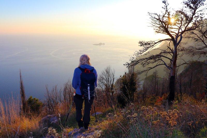 woman hiker on coastal trail