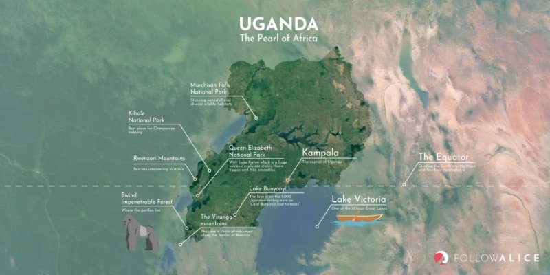 Follow Alice map of Uganda with some popular destinations indicated
