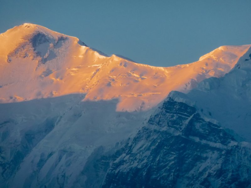 The peaks of the Annapurna mountains are always covered in snow