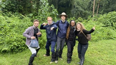 Group of travellers setting out on a gorilla trek