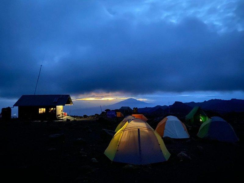 Tents at campsite at night on Kilimanjaro