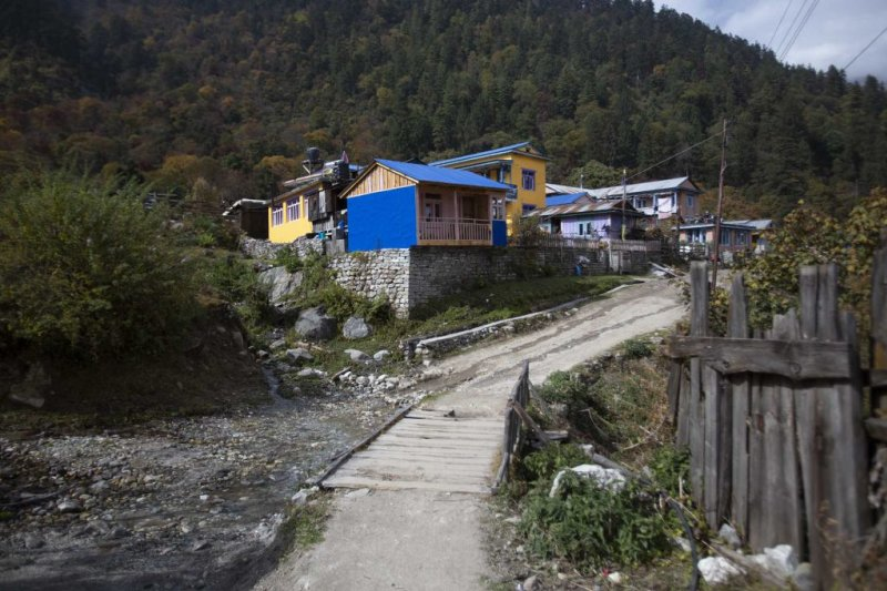 Annapurna Circuit route small village and stream