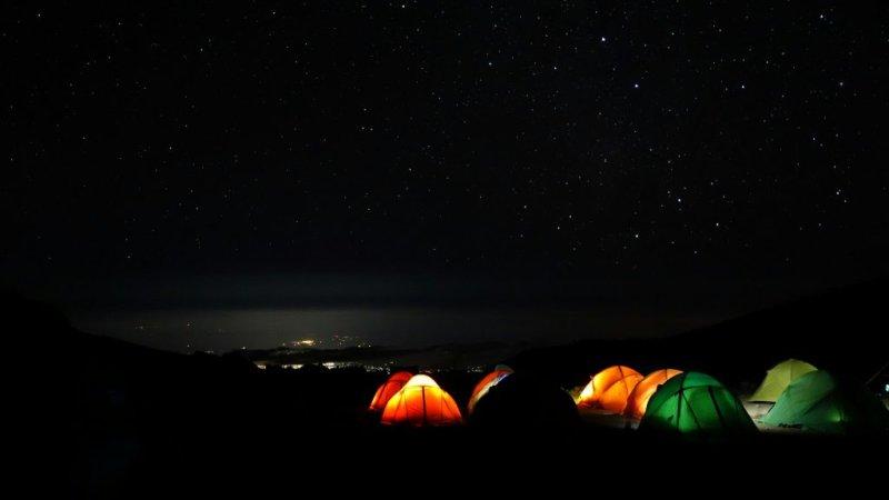 nighttime Kilimanjaro camp