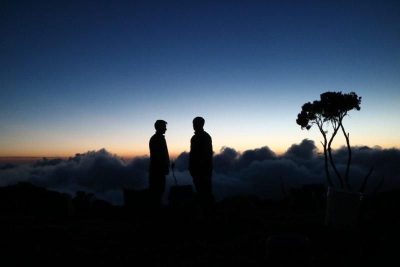 nighttime Kilimanjaro silhouettes