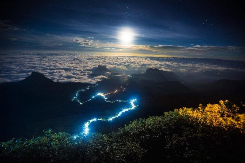 Aerial view of Adams Peak at night