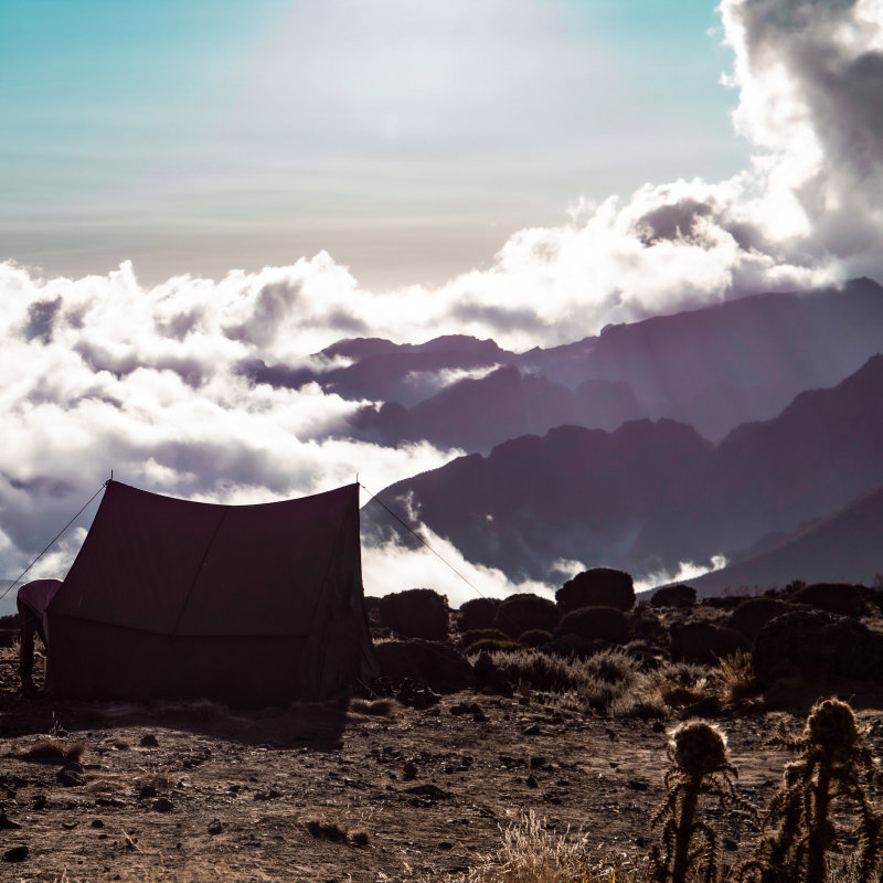 Clouds from camp on Kilimanjaro