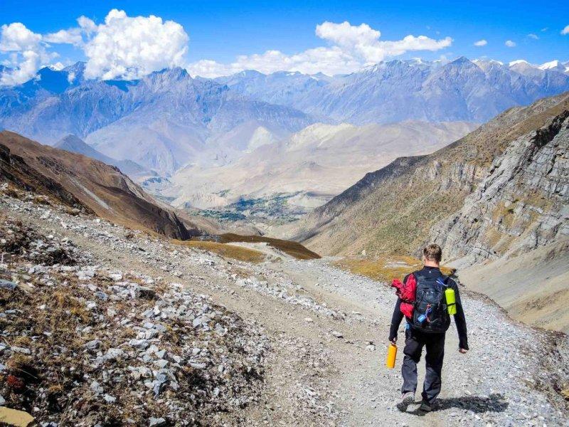 Annapurna Circuit route and lone trekker