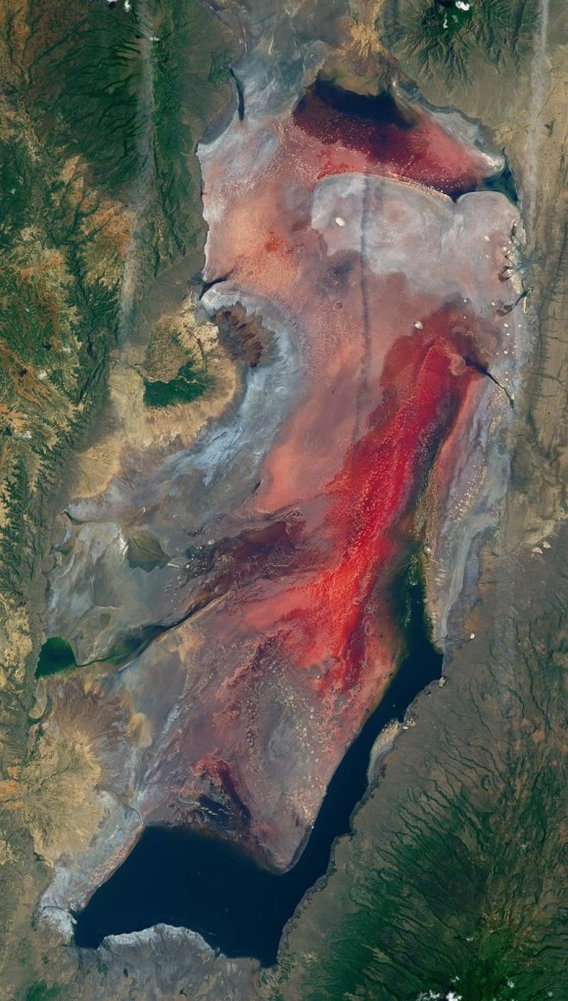 View from space of Lake Natron in Tanzania