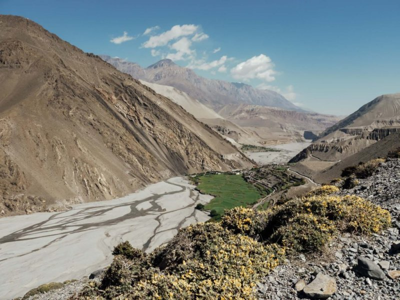 Valley in barren landscape in Annapurna mountains, Nepal packing list