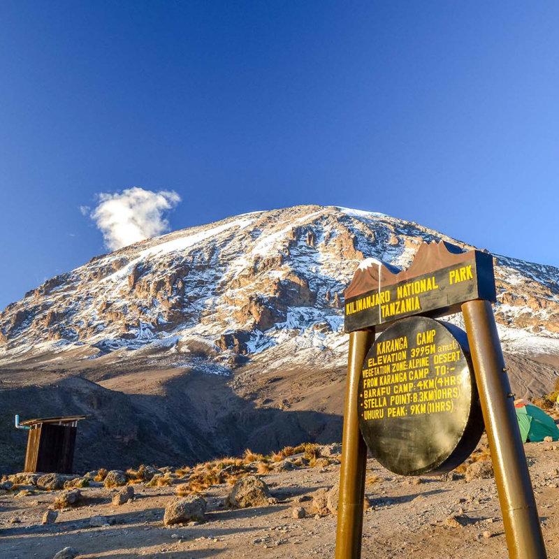 Karanga Camp sign with peak behind