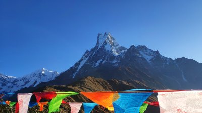 Mardi Himal Base Camp with prayer flags, Lumle, Nepal