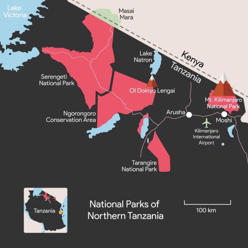 Northern Tanzania national parks map, Lake Natron