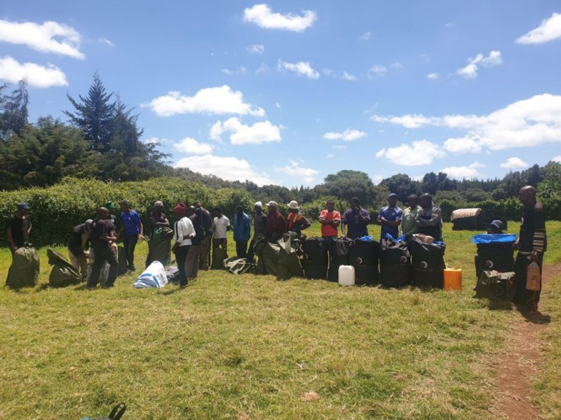 mountain crew getting ready to climb Kilimanjaro with Follow Alice