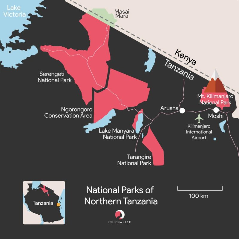 Map of national parks in northern Tanzania