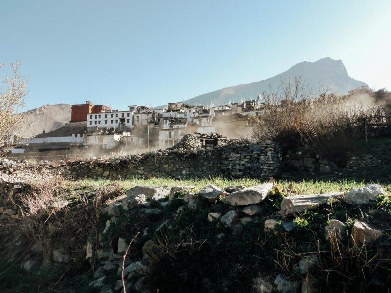Town on Annapurna circuit with mist, Annapurna Circuit packing list