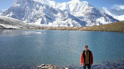 Nepal mountain scene and hiker