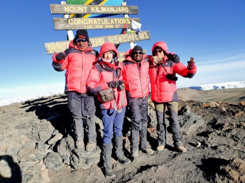 Kilimanjaro summit Roger, James, Robert and Andrew