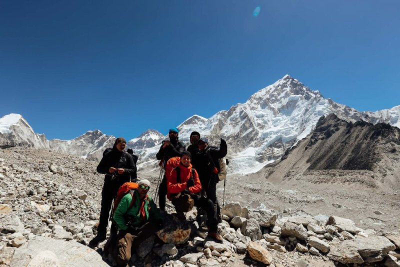 Trekking group in Annapurna mountains with all the right gear