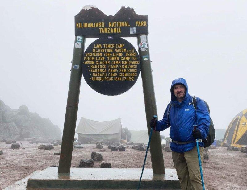 Man Standing at Lava Tower Kilimanjaro Climb