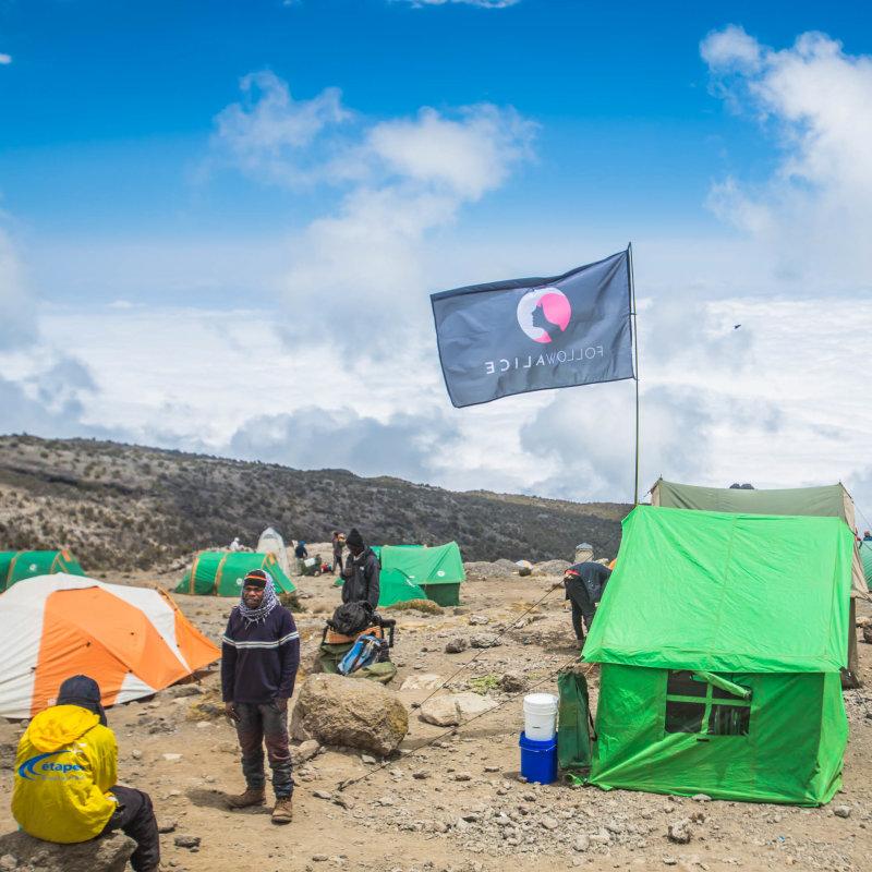 Follow Alice campsite on Kilimanjaro