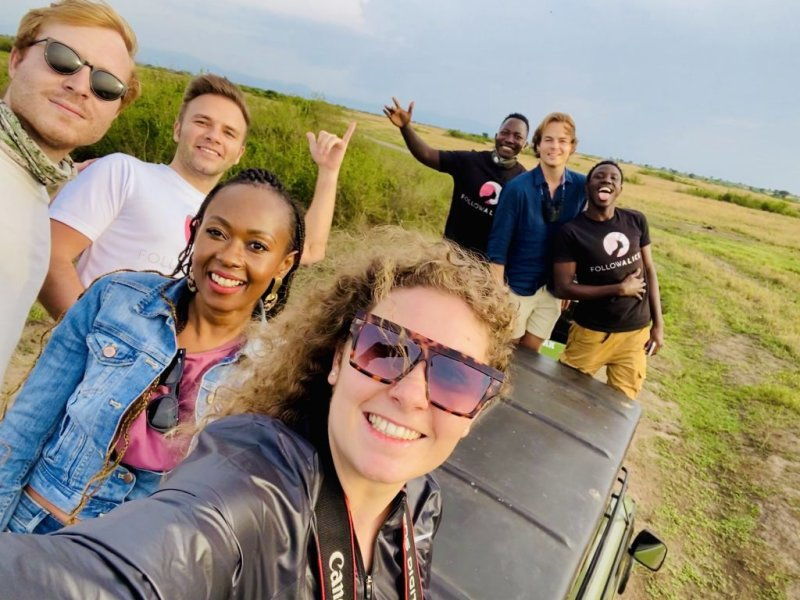 Group photo on safari in Uganda, best time to visit Uganda
