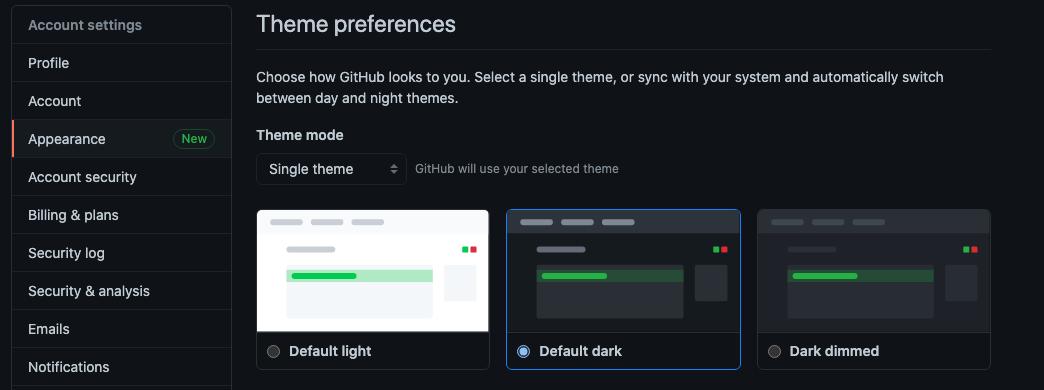 GitHubのDark theme